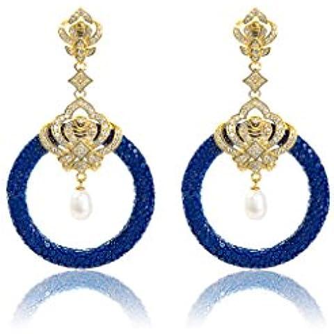 Medusa 22ct Gold Vermeil Stingray Hoop (Royal Blue & Pearl) - Orecchini In Oro Perle Vermeil