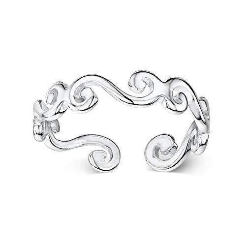 Amberta Echt 925 Sterling Silber - Einstellbarer Zehenring für Frauen - Runde Midi Ring - Wellen Design - Durchmesser 14 mm - Breite 1.2 mm