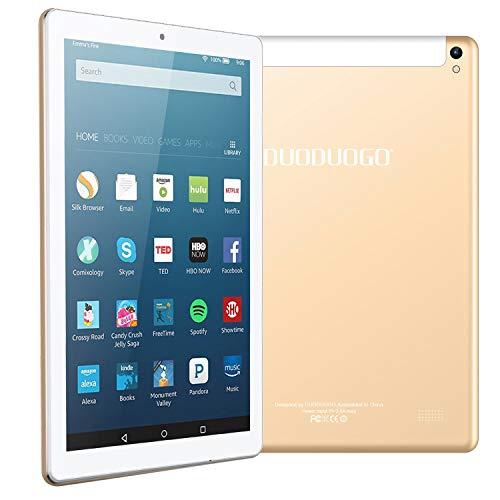 4G Call Tablet PC Android 7.0 Tablet 10.1 pollici IPS HD ,Quad Core Dual SIM 4G OTG - RAM da 2GB + 32GB Batteria litio 8500mAh - 8.0 MP fotocamera Camera - Bluetooth 4.1 WiFi Radio FM (G12_Oro)