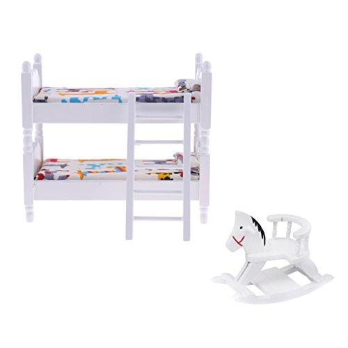 FLAMEER 2 Stücke Miniatur Holz Etagenbett & Schaukelpferd Möbel Set für 1/12 Puppenhaus Kinder Schlafzimmer Dekoration -