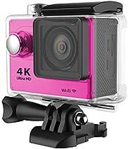 كاميرا فيديو اكشن رياضية H9 4K الترا اتش دي 1080P مزودة بواي فاي ومضادة للماء حتى عمق 30 متر - لون زهري