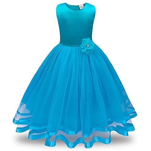 Honestyi BabyBekleidung Blumenmädchen Prinzessin Brautjungfer Pageant Tutu Tüll Kleid Party Hochzeitskleid (160,Hellblau)