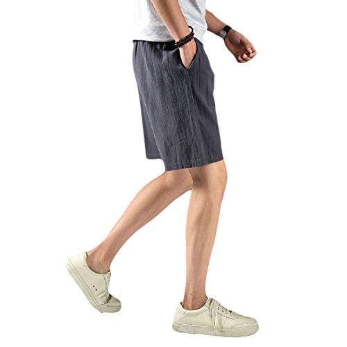 Aooword-men clothes Herren fest Farbe Maxi-lockere Passform Vogue leinenbaumwollder aktiv Shorts XX-Large Grau -