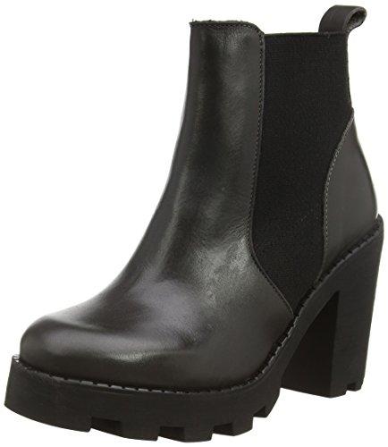 PIECES Psuzza Leather Boot Chelsea Castlerock, Stivali a mezza gamba non imbottiti donna Grigio (Grau (Castlerock))