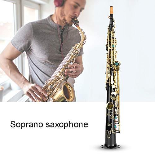 Nannday Sopransaxophon, schwarz Goldener Knopf Messingrohr B gerade Sopran Sax Holzblasinstrument mit Mundstück Carekit Tragegurt für Schüler