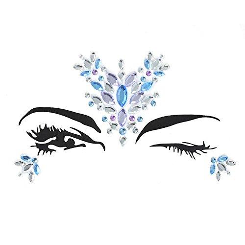 ems Strass Tattoo, Festival Jewels Augen Gesicht Stirn temporäre Tattoos Rave Glitzer Bindi Kristalle Rainbow Tränen Aufkleber Type Seven (Einfach Sevens Kostüme)