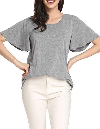 Meaneor Damen V-Ausschnitt Kurzarm Loose Sommer T-shirt Shirts Bluse Hemd Oberteil Tunika Tops Mit Tasche Grau
