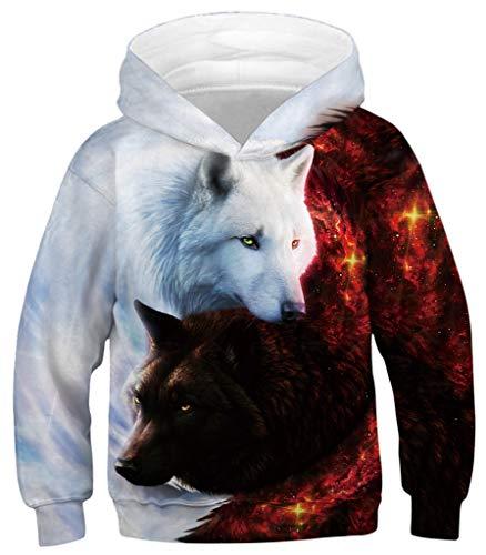 Ocean Plus Jungen Hoodie Tierdruck Kapuzenpulli mit Aufdruck Kapuzenpullover Kinder Sweatshirt Hooded Sweat (L (Körpergröße: 145-155cm), Engel und Teufel Doppelwolf)