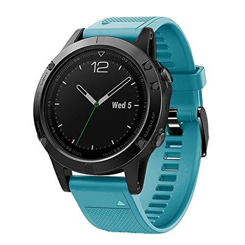Waotier für Garmin Fenix 5 Quickfit Armband TPU Silikon Armband für Garmin Fenix 5X Plus Armband für Garmin Fenix 3 HR Kompatibel für Garmin Fenix 5X / 5X Plus/Fenix 3/3 HR Armband (Hellblau)