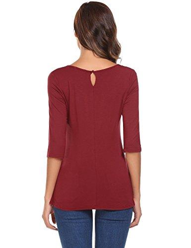Meaneor Damen Shirt 3/4 Arm Bluse Modal Obereteil Loch T-Shirt Silm Fit Uni Top Tunkia in 3 Farbe Weinrot
