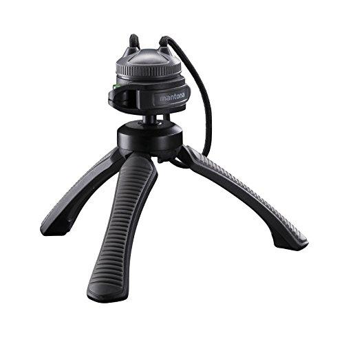 Mantona kaleido Gaia leichtes Mini Tisch und Handstativ (geeignet für Spiegelreflex, Digitalkameras und Camcorder) deep grey