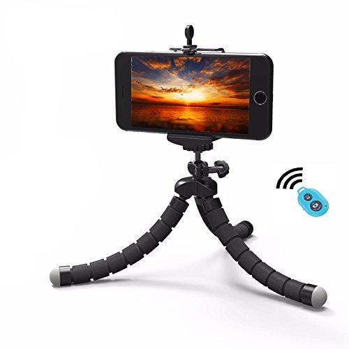 [PfX] 2-in-1 Biegsames Smartphone und Kamera Mini Dreibein Stativ Tripod - für iPhone Samsung GoPro - inkl. Bluetooth Fernbedienung I Oktopus Dreibein Stativ mit Handyhalterung (Schwarz)
