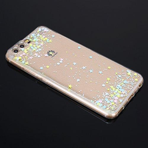 Paillette Coque pour Huawei P10,Huawei P10 Coque en Silicone Étui Ultra Mince Housse,Ukayfe [Liquid Crystal] Ultra-Fine Étoiles Motif Glitter Paillette TPU Silicone Coque pour Huawei P10 Bling Bling G Couleur Étoiles