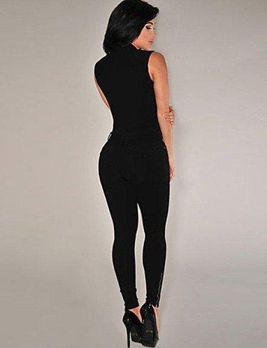 GSP-Combinaisons Aux femmes Sans Manches Sexy/Moulant/Décontracté Spandex/Polyester Fin Elastique black-l