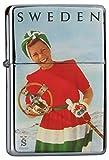 LEotiE SINCE 2004 Chrom Sturm Feuerzeug Benzinfeuerzeug aus Metall Aufladbar Winddicht für Küche Grill Zigaretten Kerzen Bedruckt Weltenbummler Schweden Nostalgie Skifahrerin