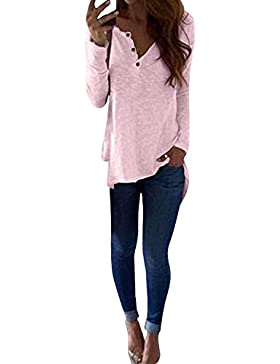 StyleDome Mujer Camiseta Mangas Largas Otoño Blusa Playa Cuello Redondo Elegante Noche Oficina Tops