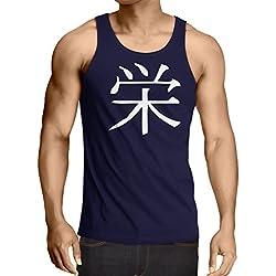 lepni.me Camisetas de Tirantes para Hombre Insignia de Prosperidad - Símbolo de Kanji Chino/Japonés (Medium Azul Blanco)