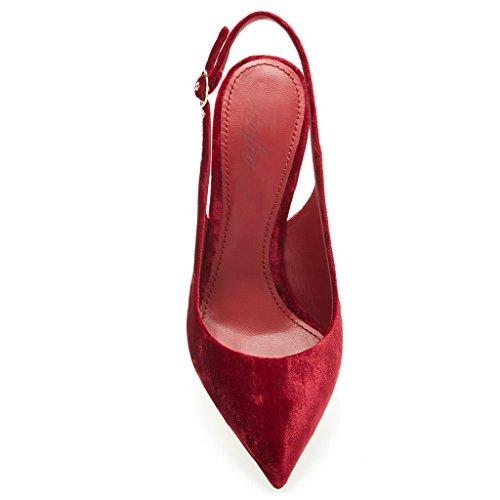 SHOFOO - Femmes - Stiletto - Bride de cheville - Rouge - Cuir synthétique - Talon aiguille - Bout pointu fermé Rouge