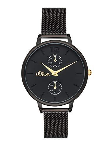 s.Oliver Time Damen Multi Zifferblatt Quarz Uhr mit Edelstahl Armband SO-3581-MM