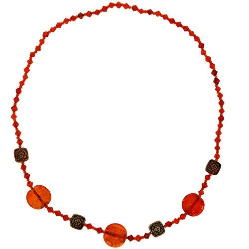 Behave Rote Perlenkette für Frauen - Anhänger Halskette mit Kreis Anhänger und roten Perlen - Schmuck Geschenke für sie