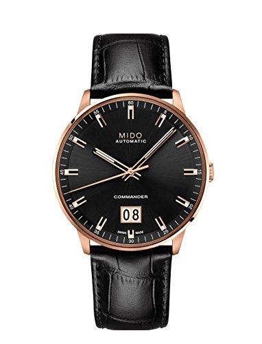 Mido orologio Commander pelle nero cassa acciaio pvd oro rosa M0216263605100