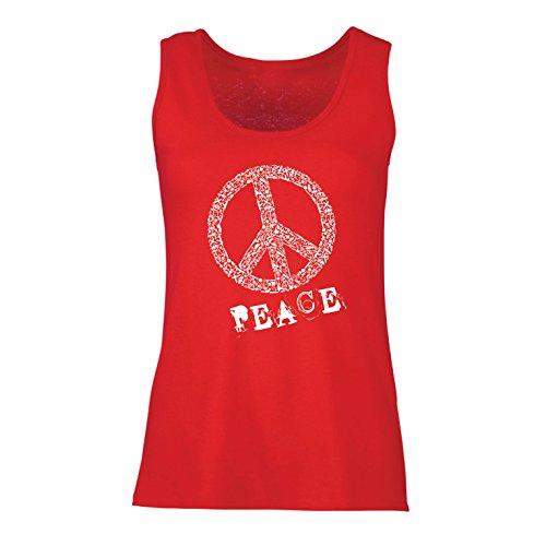 lepni.me Damen Tank-Top Peace Symbol 60er Jahre 70er Jahre Hippie-Festival, Zeichen der Freiheit (Small Rot Mehrfarben) -