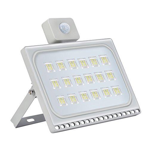 100W 8000LM Foco LED con Sensor Movimiento, Super Brillante Ultrafino Proyector LED 6000K Focos Exterior, Impermeable IP66 Iluminación de Exterior y Seguridad para Patio, Jardín