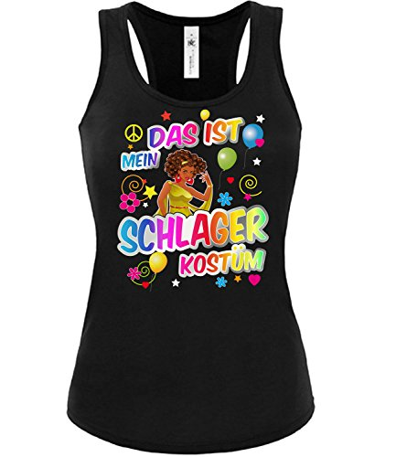 Golebros Schlager Kostüm Karneval Fasching Motto Schlager Party Frauen Tank Top Outfit Schlagershirt Faschingskostüm Schlagerkostüm Oberteil Accessoires Kleid (Ideen 70er Motto-party Outfit)