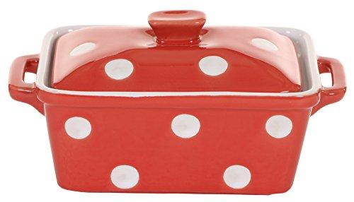 Isabelle Rose - IR5485 - Keramik Butterdose / Mini Backform - rot mit weißen Punkten / polka dot (Dot Polka Geschirr)