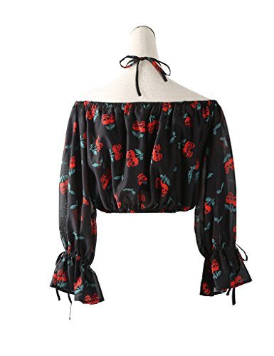 Elf Sack Womens Sommer Blumendruck Chiffon Bluse Schwarz (Crop Top)
