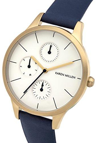 Karen Millen-Bracciale-Orologio da donna al quarzo con Display analogico e cinturino in pelle, colore: blu KM144UG