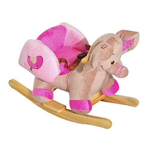 HOMCOM Kids Rocking Horse Toddler Wooden Riding Toy Baby Wood Ride on Animal Handle Infant Rocker Plush Seat w/ 32 Songs & Safety Belt (Pink Elephant)
