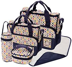 Set 5 kits Bolsa de Mama Para Bebe Biberon Bolso/Bolsa/Bolsillo Maternal Bebé para carro carrito biberón colchoneta comida pañal de color azul