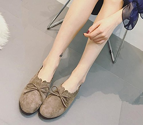 2017 Été Nouvelles Chaussures Plates Rétro Rond Tête Sauvage Bow Chaussures Décontractées Khaki