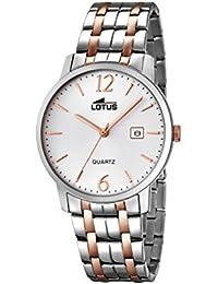 f4b02c91c210 Lotus Reloj de Hombre de Cuarzo con Esfera Analógica Blanca Pantalla y  Plata Pulsera de Acero