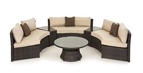 Maze Rattan Half Moon Sofa-Set in einer gemischten braun Weave (Aluminium-patio-möbel-kissen)