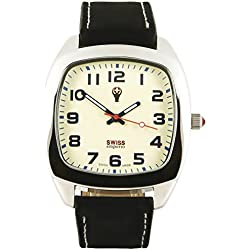 Swiss Emporio Men's Quartz Swiss Made Watch with Beige Dial Analogue Display and Black Leather Strap SE05CRSL10