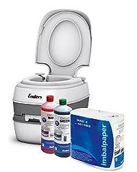 Enders Campingtoilette Starter-Set Green Comfort [ 4944 ]: inkl. Sanitärflüssigkeit und WC Papier - Mobile Chemietoilette Campingklo Camping-Toilette