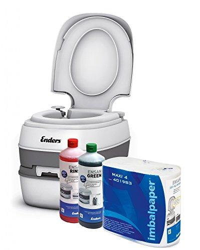 Campingtoilette Starter-Set Green Enders Comfort [ 4944 ]: inkl. Sanitärflüssigkeit und WC Papier - mobile Chemietoilette Campingklo Camping-Toilette