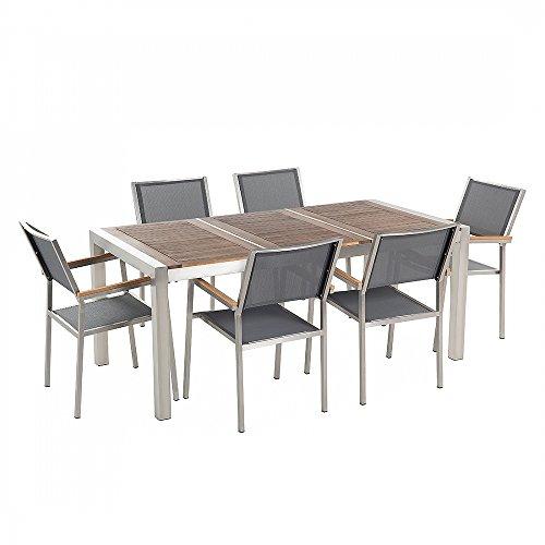 Gartenmöbel - Edelstahltisch 180 cm Holzplatte mit 6 grauen Stühlen - GROSSETO