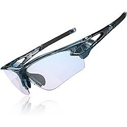 ROCKBROS Gafas de Sol Fotocromáticas Protección UV 400 Anti Azul para Interiores y Exteriores Ordenador Lectura Ciclismo y Deportes al Aire Libre para Hombre y Mujer (Gris)