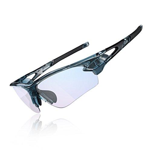 ROCKBROS Brille Sonnenbrille Radbrille Photochromatisch UV-Schutz Anti Blaues Licht für Sport Radfahren und Lesen vorm Computer(Grau)