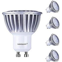 LAMPAOUS 7W LED GU10, blanc froid 6000k, Équivalent aux ampoules halogènes 60W, Angle d'éclairage 60 degrés, non dimmable, lot de 4.