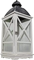 Holz-Laterne mit Echtglas und Tür 1 Stück groß Dachspitze rund