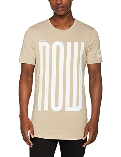 JACK & JONES Jcoelke Tee Ss Crew Neck, T-Shirt Uomo Beige (Simply Taupe Fit:slim Longline)