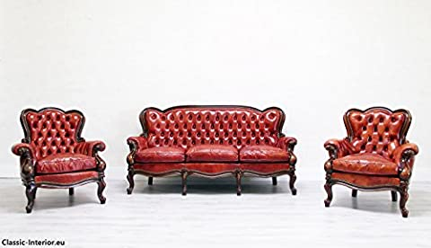 Chesterfield Chippendale Sofa Leder Antik Vintage Sessel Garnitur