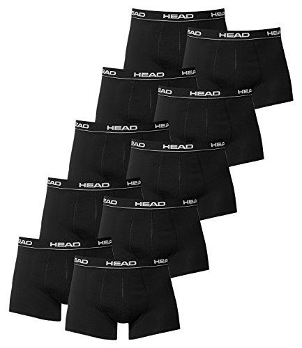 HEAD Herren Boxer Boxershort Unterhose 10er Pack in vielen Farben (Black, L)