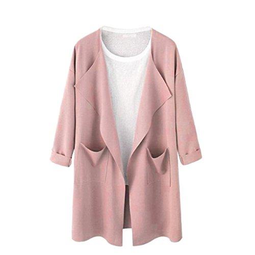 Internet Damen Kausales offenes Sweatshirt Langer Mantel Jacke Fashion Outwear Cardigan (M, rosa)