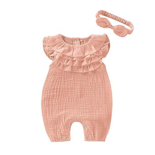 squarex Sommer Neugeborenes Baby Kind Mädchen Einfarbig Overall Ärmellos Overall Lässig Strampler Klettern Kleid Stirnband Kleidung Outfits