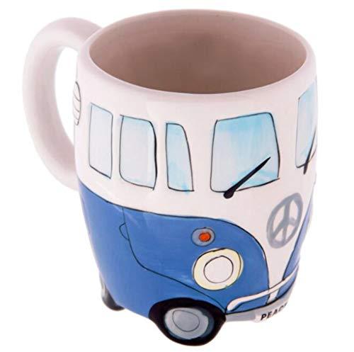 Sulifor Kreative Handmalerei Doppel Bus Becher Retro Keramik Tasse Kaffee Milch Tee 400ml